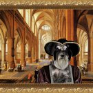 Miniature Schnauzer Fine Art Canvas Print - Interiour of Gothic hall