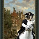 Pyrenean Mastiff Fine Art Canvas Print - Gallop through a Dutch street