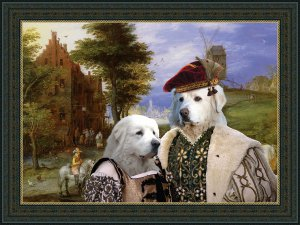 Pyrenean Mountain Dog  Fine Art Canvas Print - Entrance to the village