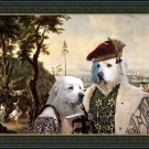 Pyrenean Mountain Dog  Fine Art Canvas Print - The ceremony in Palace park