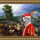 Pyrenean Mountain Dog  Fine Art Canvas Print - Concerned soldier in battle