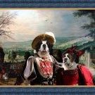 Saint Bernard Fine Art Canvas Print - The couple in village landscape
