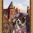 Saint Bernard Fine Art Canvas Print - Dutch Town Scene with Lady