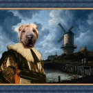 Shar Pei Fine Art Canvas Print - The landscape with windmill