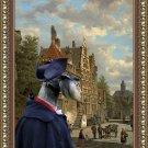 Standard Schnauzer Fine Art Canvas Print - The meeting in old Dutch town