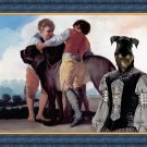 Standard Schnauzer Fine Art Canvas Print - Child and lady with mastiff