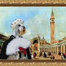 Standard Schnauzer Fine Art Canvas Print - The square San Marco and Venice lady