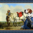 English Pointer Fine Art Canvas Print - A Cavalier watering his Mount