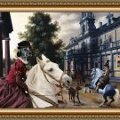 English Setter Fine Art Canvas Print - The noble horseriders in a Palace garden