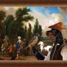 Gordon Setter Fine Art Canvas Print - Landscape with Elegant Figures, Horses and Dogs
