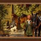 Hungarian Wirehaired Vizsla Fine Art Canvas Print - Horses at the Porch