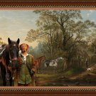 Hungarian Wirehaired Vizsla Fine Art Canvas Print - The favourite hunters of Mrs Robert Townley