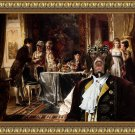 Old Danish Pointing Dog Fine Art Canvas Print - Elegant Figures In An Interior
