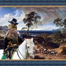 Spinone Italiano Fine Art Canvas Print - The landscape with hunters and their dogs and prey birds
