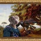 Weimaraner Fine Art Canvas Print - The Landscape with a Young Lady Hawk and the old Oak tree