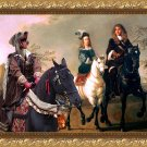 Weimaraner Fine Art Canvas Print - The Count, Countess and their Companion in riding