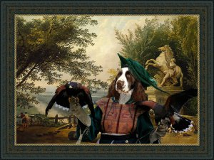 English Springer Spaniel Fine Art Canvas Print - Ruins on the Terrace in Marly Park