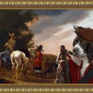 Epagneul Francais Fine Art Canvas Print - Resting hunters in an evening landscape