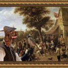 Field Spaniel Fine Art Canvas Print - Village celebration with falconer