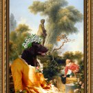 Flat Coated Retriever Fine Art Canvas Print - The galant meeting
