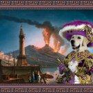 Golden Retriever Fine Art Canvas Print - Etna eruption