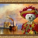 Bichon Frise Fine Art Canvas Print - The fighting Temeraire with red Pirate