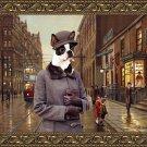Boston Terrier Fine Art Canvas Print - Charleston Blues