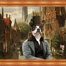 Boston Terrier Fine Art Canvas Print - A Dutch street with djenleman