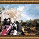 Cavalier King Charles Spaniel Fine Art Canvas Print - Landscape with couple, road and castle