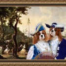 Cavalier King Charles Spaniel Fine Art Canvas Print - Blue noble couple walking in the Palace's park