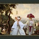 Chihuahua Long Haired Fine Art Canvas Print - Royal couple walking in the Palace's park