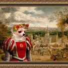Chihuahua Long Haired Fine Art Canvas Print - The Fair day and red Lady
