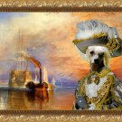 Chinese Crested Dog Fine Art Canvas Print - Grey pirate with ship