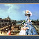 Chinese Crested Dog Fine Art Canvas Print - Blue Lady in Summer day