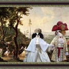 Japanese Chin Fine Art Canvas Print - Royal couple walking in the Palace's park