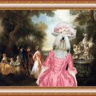 Lhasa Apso Fine Art Canvas Print - The noble party in Palace park