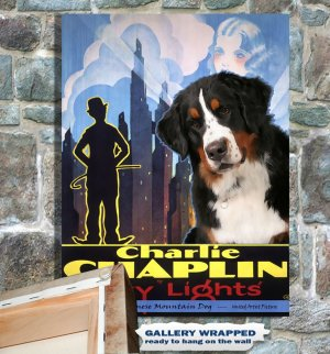 Bernese Mountain Dog Poster Canvas Print  -  City Lights