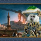 Poodle Fine Art Canvas Print - The eruption of volcano