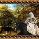 Poodle Fine Art Canvas Print - The rural road and horseride lady