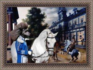 Poodle Fine Art Canvas Print - Figures in a Palace Garden
