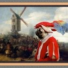Pug-Mops Fine Art Canvas Print - Battle by the Windmill