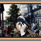 Shih Tzu Fine Art Canvas Print - Figures in a Palace Garden