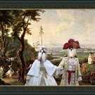 Shih Tzu Fine Art Canvas Print - Royal couple walking in the Palace's park