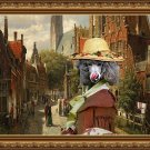 Standard Poodle Fine Art Canvas Print - A Dutch street