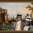 Dachshund Miniature Smoothaired Fine Art Canvas Print - The country couple