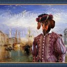 Dachshund Miniature Smoothaired Fine Art Canvas Print - The Grand Canal, Venice