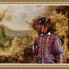 Dachshund Miniature Smoothaired Fine Art Canvas Print - The Rich Noble man and landscape