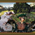 Dachshund Miniature Wirehaired Fine Art Canvas Print - The hunting deer and falconer