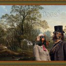 Dachshund Standard Longhaired Fine Art Canvas Print - Lancashire in a wooded coastal