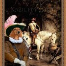 Dachshund Standard Smoothaired Fine Art Canvas Print - A Stop at the Tavern